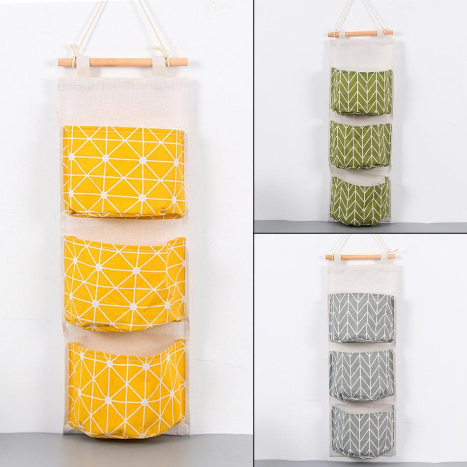 office hanging organizer. Hot 3 Pockets Cotton Linen Wall Hanging Storage Bags Door Pouch Bedroom Home Office Organizer-in Organizers From \u0026 Garden On Aliexpress.com Organizer