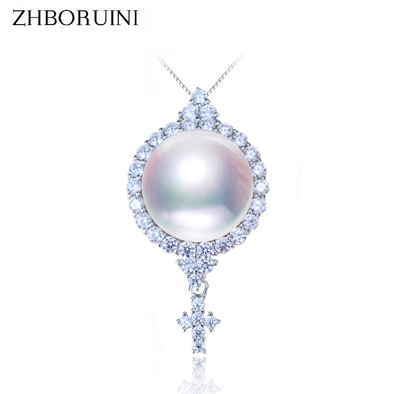 Zhboruini pearl necklace natural freshwater pearl cross pendant zhboruini pearl necklace natural freshwater pearl cross pendant zircon 925 sterling silver jewelry for women accessories gift in pendants from jewelry aloadofball Images