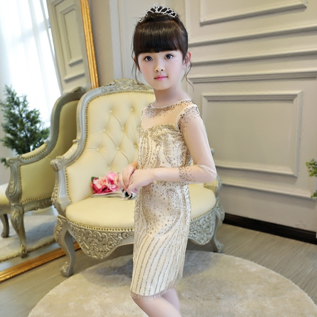 1267416d3439 Chinese Baby girl dresses princess costume kid pageant gowns gold ...