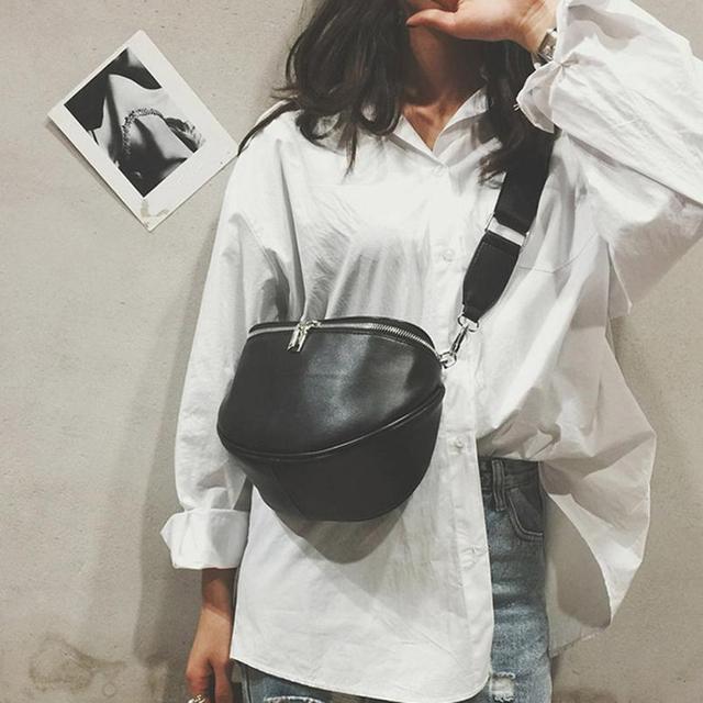 Bags For Women Fashion 2018 Fanny Pack Waist Belt Bag PU Solid Shell Zipper Black Cute Ladies Packs Bolsa De Cintura