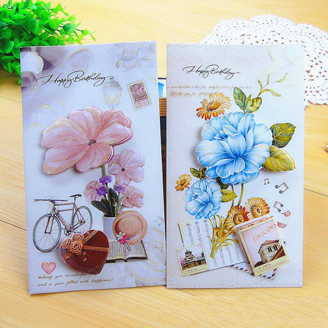 8pcs Lot Korean Creative Three Dimensional Birthday Greeting Card Students Children Blessing Message