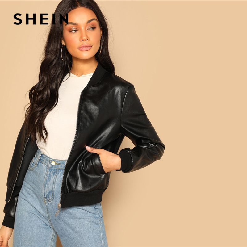 SHEIN Black Zip Up Faux Leather Bomber Jacket Casual Stand Collar Pocket Plain Outerwear 2019 Women Streetwear Going Out Coats 2