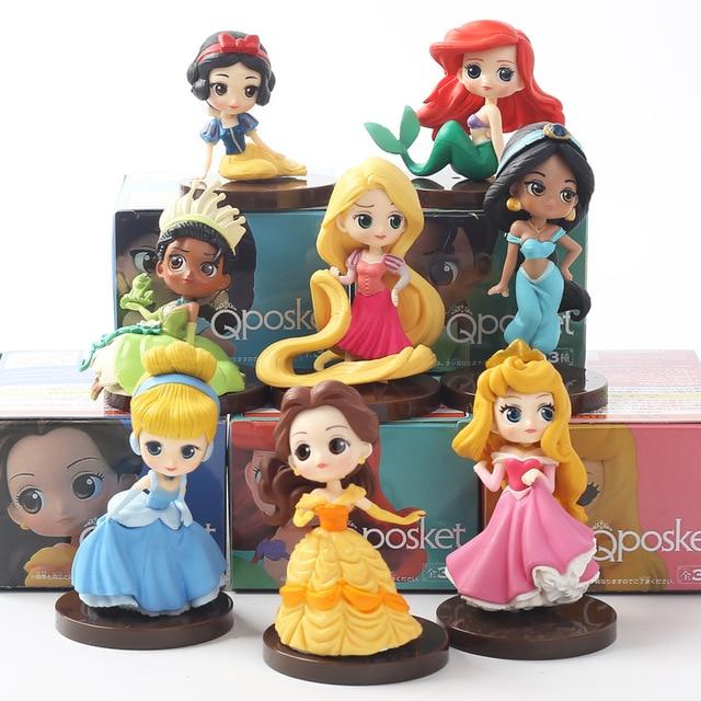 8 pçs/lote Q Posket princesas Tiana figura Brinquedos Dolls Jasmine Rapunzel Ariel Cinderela Branca de Neve Belle Aurore PVC toy Figuras