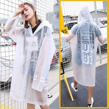 Взрослой моды Водонепроницаемый путешествия дождевики EVA Для женщин Для мужчин Открытый пончо прозрачное пончо плащ длинный дождевик