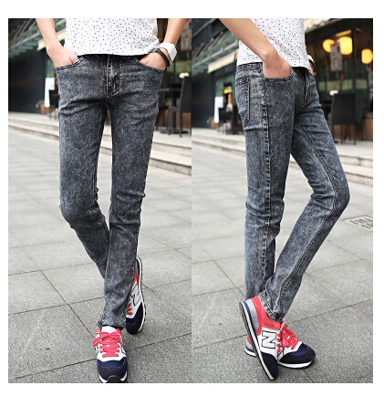 Men's autumn dark grey male slim jeans skinny pencil pants men robin homme