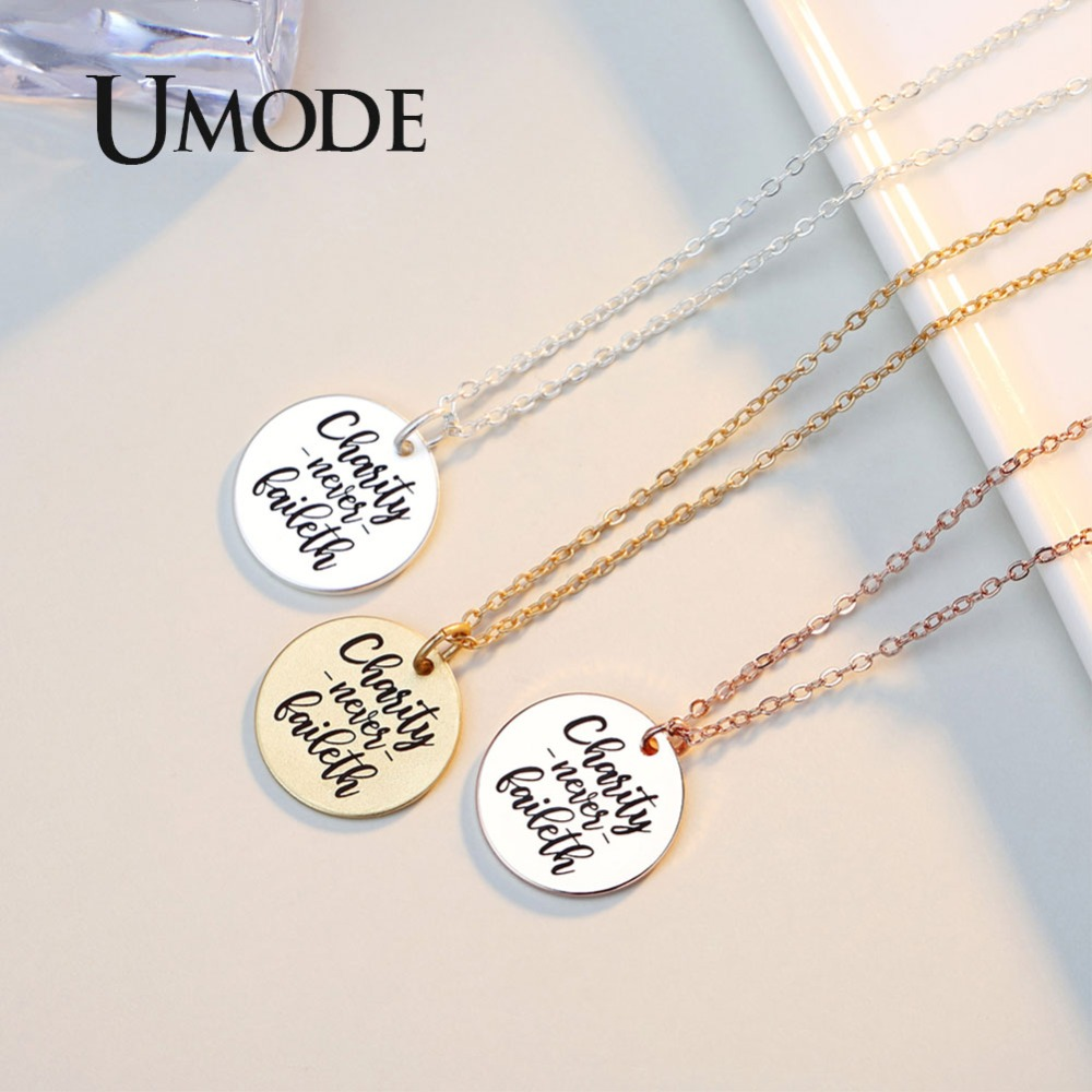 UMODE New Fashion Letters Round Pendant Necklace for Women 2018 Dumb Gold Color Pendants Simple Letter Necklace Jewelry AUN0304B in Pendant Necklaces from Jewelry Accessories