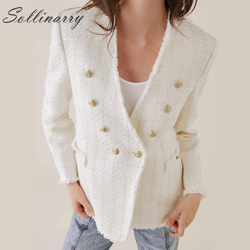 Sollinarry Elegant V Neck Jacket Blazer Women Double Breasted OL Office Blazer Women Fashion White Tweed Ladies Blazers Autumn