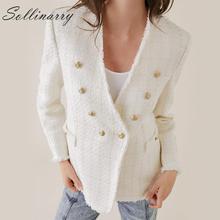 Sollinarry Elegant V Neck Jacket Blazer Women Double Breasted OL Office Blazer Women Fashion White Tweed Ladies Blazers Autumn white faux fur trim tweed blazer