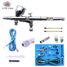 Mini Dual Action Airbrush Compressor Kit 0.2/0.3/0.5mm Needle Air Brush Spray Gun For  Makeup Model Nail Body Paint Art SP180K