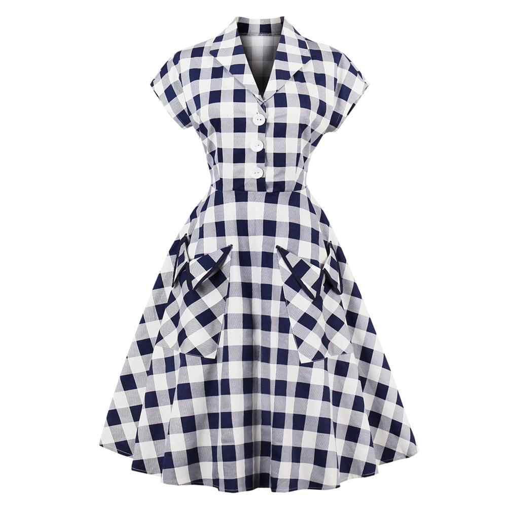 S-4XL плюс размер женское платье в стиле пинап Ретро Винтаж 50s рокабилли плед Карманы летние женские Платья Туника Vestidos