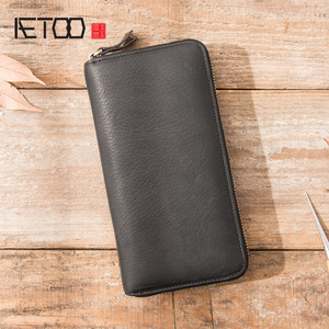 Image 2 - AETOO New wallet mens long leather multi function wallet mens clutch bag leather youth zipper wallet phone bag