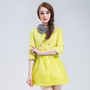 2016 Autumn Women Trench Coat Double Breasted Three Quarter Sleeve Slim Type Send Scarf Coats Yellow Black 9992