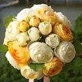 Flores de la boda ramos de Novia de Color Rosa Naranja Rojo de dama de Honor que sostiene Las Flores artificiales de La Camelia Wedding bouquet FE7