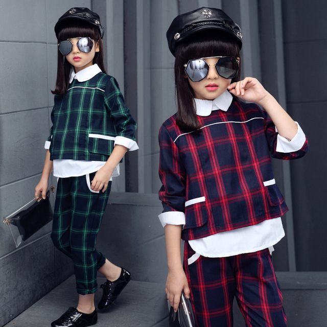 NEW Fashion Girls Clothing Set Children Outfits 2016 Baby Girls Long sleeve Plaid Coat + Pants Autumn Winter Kids Clothes Set
