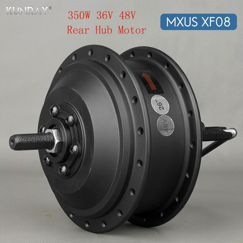 36 v 48 v 350 w motor sem escova de alta velocidade do cubo da engrenagem e-bike do motor para a movimentação da roda traseira da bicicleta de 20 polegadas-de 28 polegadas 700c mxus xf08