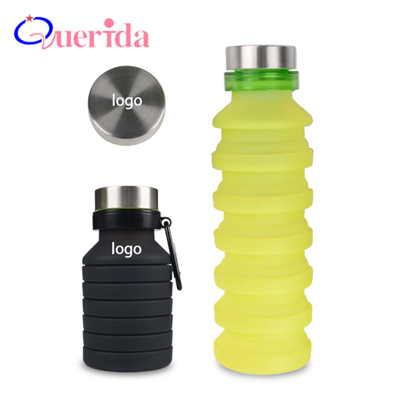 550ml Outdoor Water Bottle Collapsible Retractable Kettle Portable Food Grade Silicone Leak-Proof Camping Sports Drink Bottle