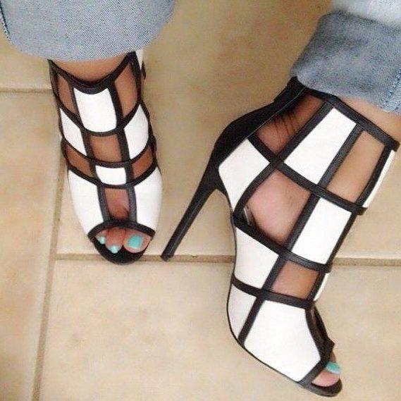 Vestido Moda Sapatos gladiador das Mulheres Sandálias de Salto Stiletto Peep toe xadrez Preto e Branco tamanho grande