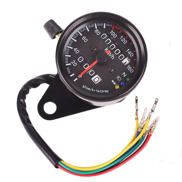 Black Chrome Motorcycle Odometer Dual Speedometer Gauge KM/h Crossbike Scooter LED Backlight Indicator Speed meter DC 12V