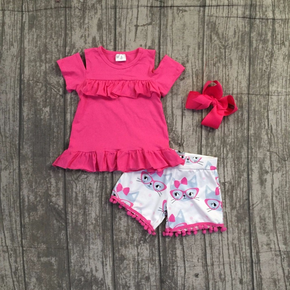 baby girls summer clothing children girls hot pink top with cat shorts outfits girls summer boutique clothes with bows