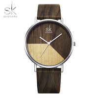Shengke High Quality Wood Watches Women Genuine Leather Quartz Watch Fashion Creative Design Ladies Clock Relogio