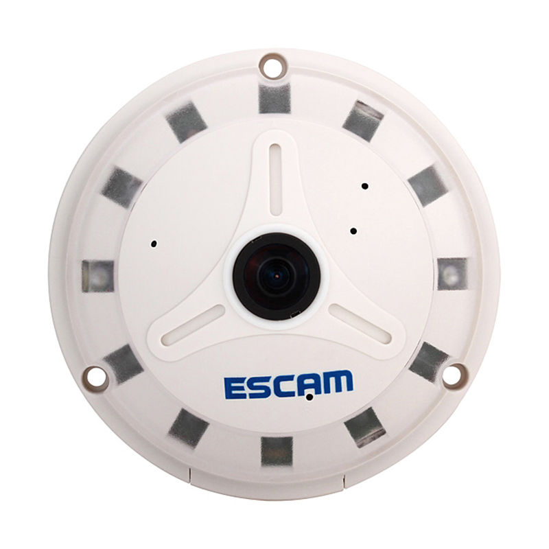 ESCAM QP130 360 degrees Fisheye Panoramic IP Camera 1.3MP HD Real Time with TF card slot Perfect Software for PC and Cellphone ip камера 130 3518e