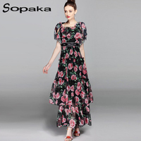 SOPAKA High Quality Black Chiffon Rose Floral Printed Slim Waist Cascading Ruffle Fashion Backless Designe Women