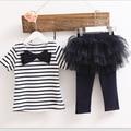Retail Girl Summer Sets Bow Stripe T-shirts+Gauze Tiered Pantskirt Legging 2 Pcs Fashion Outfits 2-5T A1011