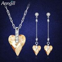 Zarif Kristal Swarovski Aşk Kalp Gelin Takı Setleri Küpe Kolye Cristal Gelen Seti Parure Bijoux Femme Düğün Takı