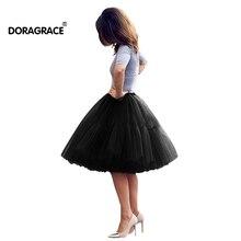 Doragrace Ladys Princess Tutu Tulle Midi Knee Length Skirt Underskirt