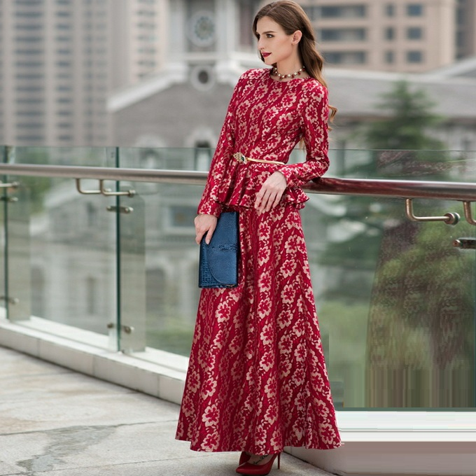 3a2351c9f2ab2 US $90.65 |2016 Autumn Winter Long Maxi Dress Lace Women Floral Full Sleeve  Women's Long Dresses Elegant Party Femme One Piece Dress Red-in Dresses ...