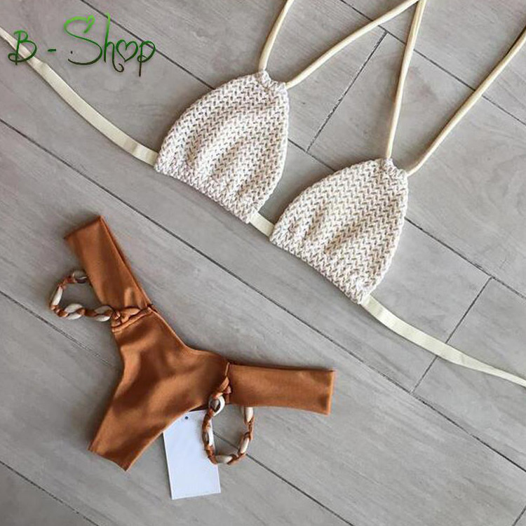 Newest Launch for Season 2016 Summer One Sexy Bandeau Bikini High Waist beige swimming suit for women