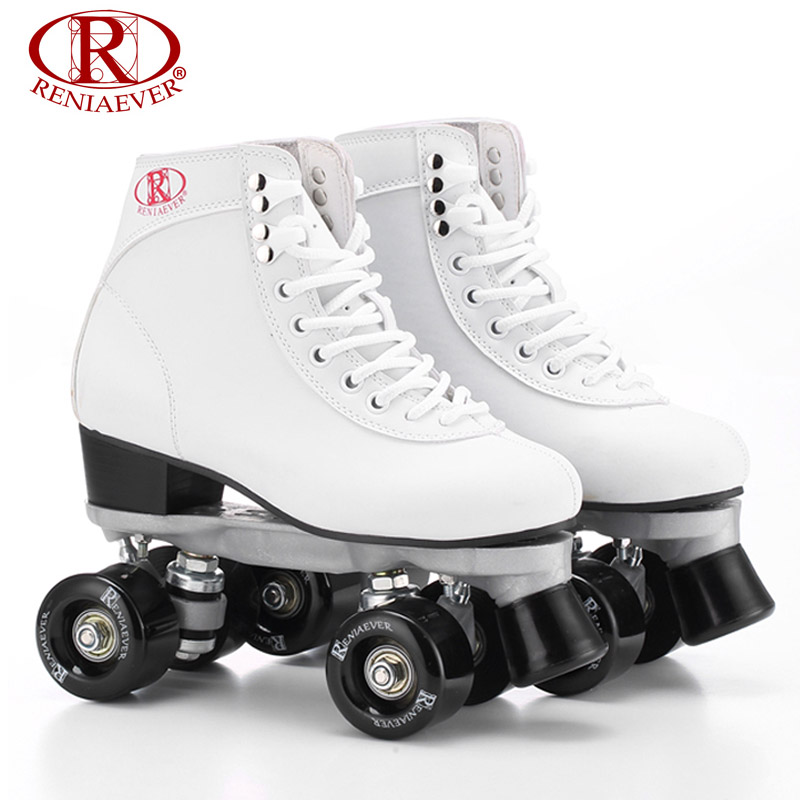 RENIAEVER Roller Skates Double Line Skates White Women Female Lady Adult Black PU 4 Wheels Two line Skating Shoes Patines