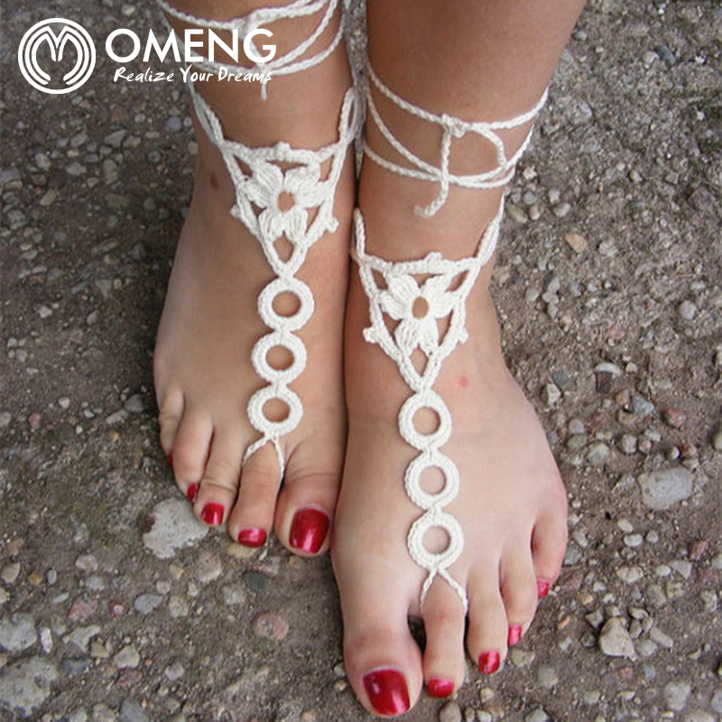 OMENG Crochet Barefoot Sandals Anklet Barefoot Sandles Foot jewelry Steampunk Victorian Lace Black Gift wrapped OJL005