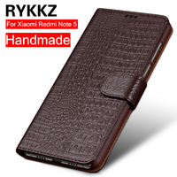 RYKKZ Hot Selling 4 Color Genuine Leather Flip Cover Card For Xiaomi Redmi Note 5 Protective Case Leather Cover Free Shipping