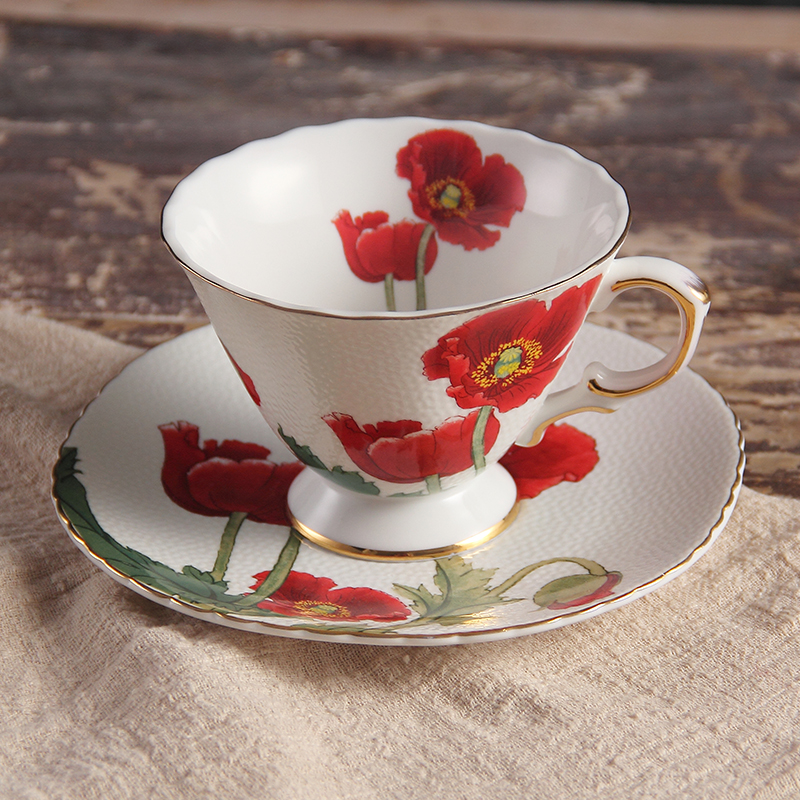 Top level Luxury Flower Gold Plated Ceramic Bone China Porcelain Coffee Cup 220ml,Set Mug Cappuccino Coffee Tea Cup Saucer