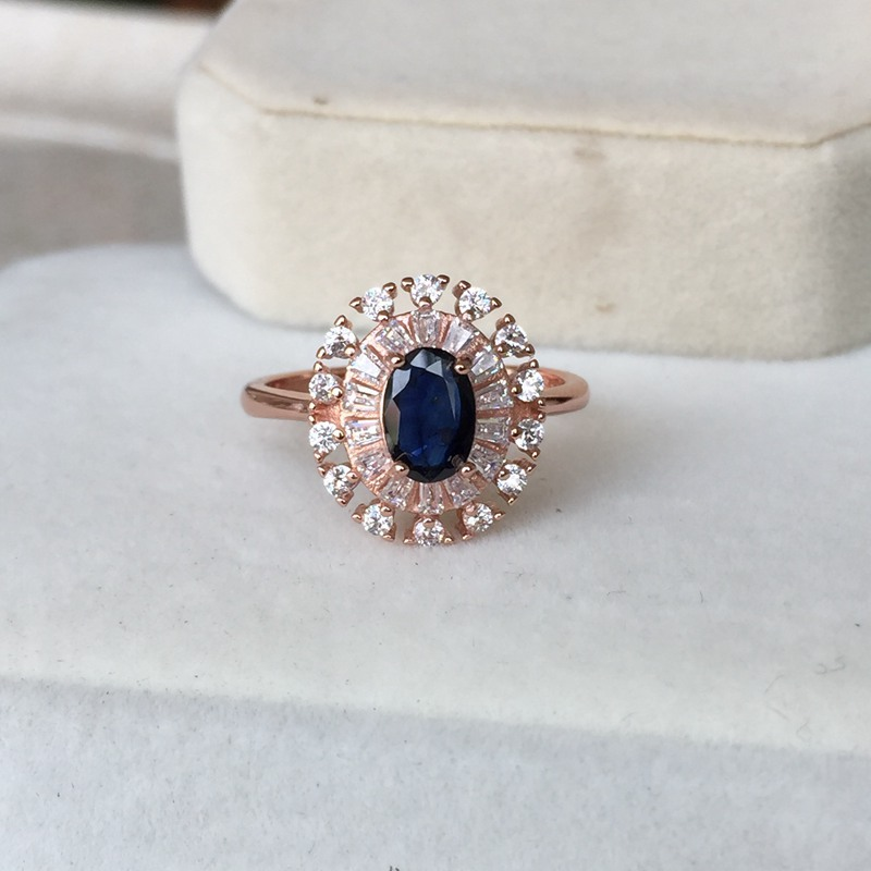Natural blue Sapphire oval cut 5*7mm cab 0.5ct gemstone Ring classic design Ring in 925 sterling silver for women lady gift daimi 925 silver ring brand design genuine pearl ring 6 7mm