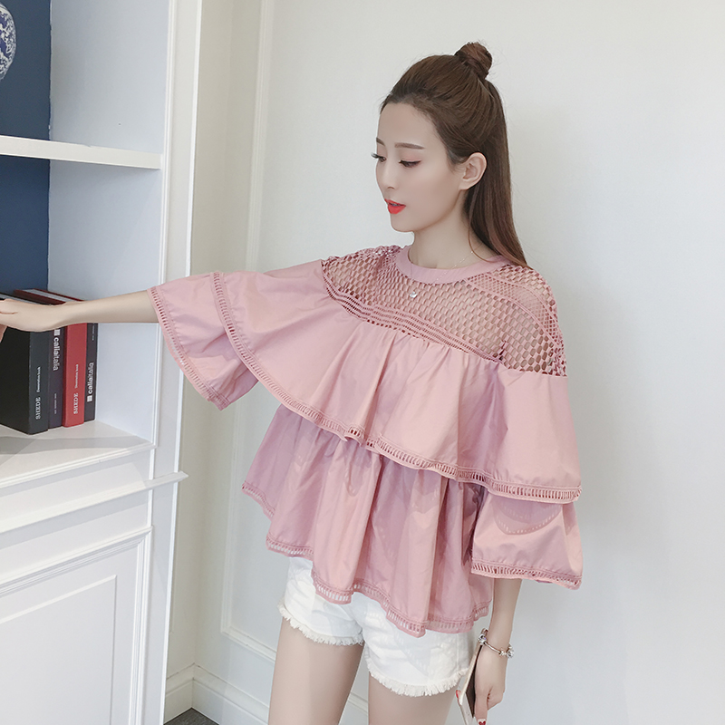 2017 Spring Cute Women Shirts Ruffles Flare Sleeve Solid Loose Hollow Out Babyps Blouse Shirt White Black 6771 ...