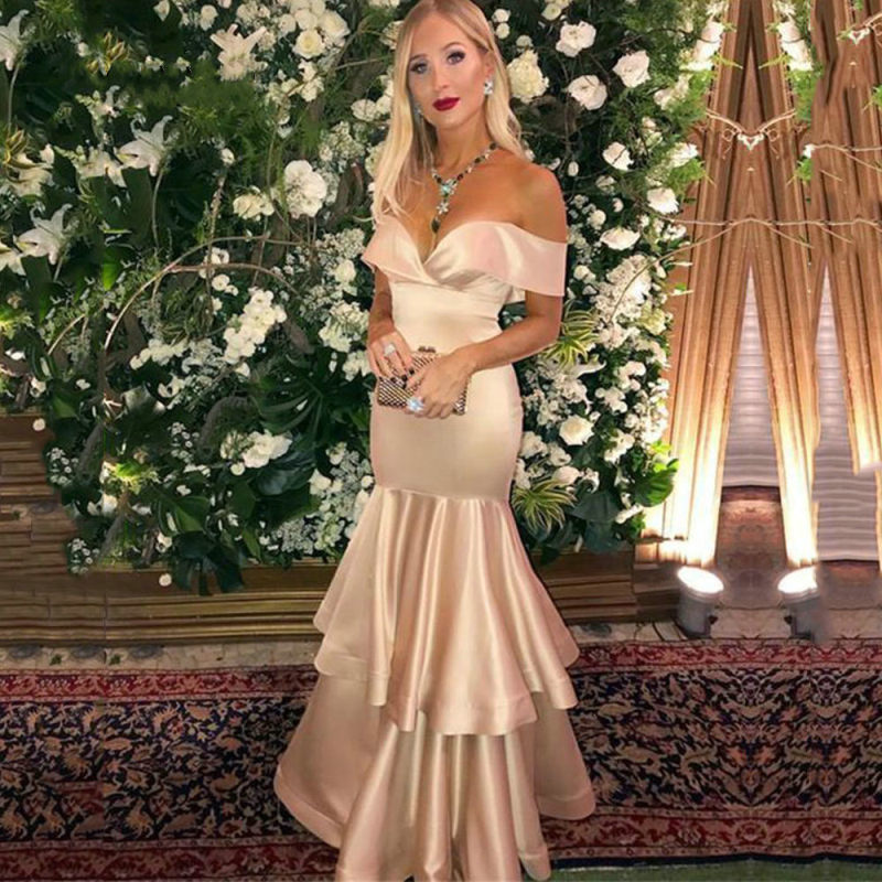 Vestidos de festa Sexy Mermaid   Prom     Dress   Satin Long Formal Party Gown 2019 Gala Sweetheart Off Shoulder Reflective   dress