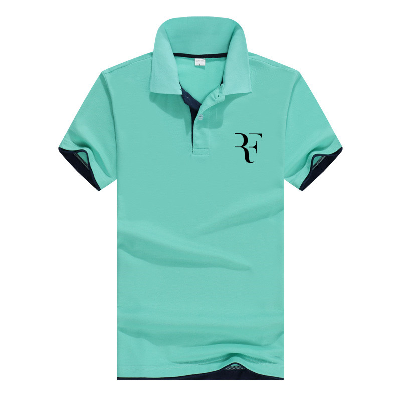 summer fashion high quality   polo   Roger Federer perfect logo printed RF New men social   Polo   shirts   Polo   Shirt for women and mens