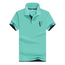 summer fashion high quality polo Roger Federer perfect logo printed RF New men social Polo shirts Shirt for women and mens