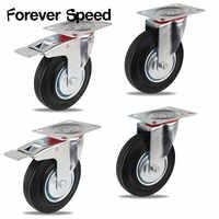 125MM Heavy Duty Rubber Castor Trolley Wheel Industrial Caster Fixed Plate Industrial Trolley 4pcs Wheel Castors 2pcs with brake