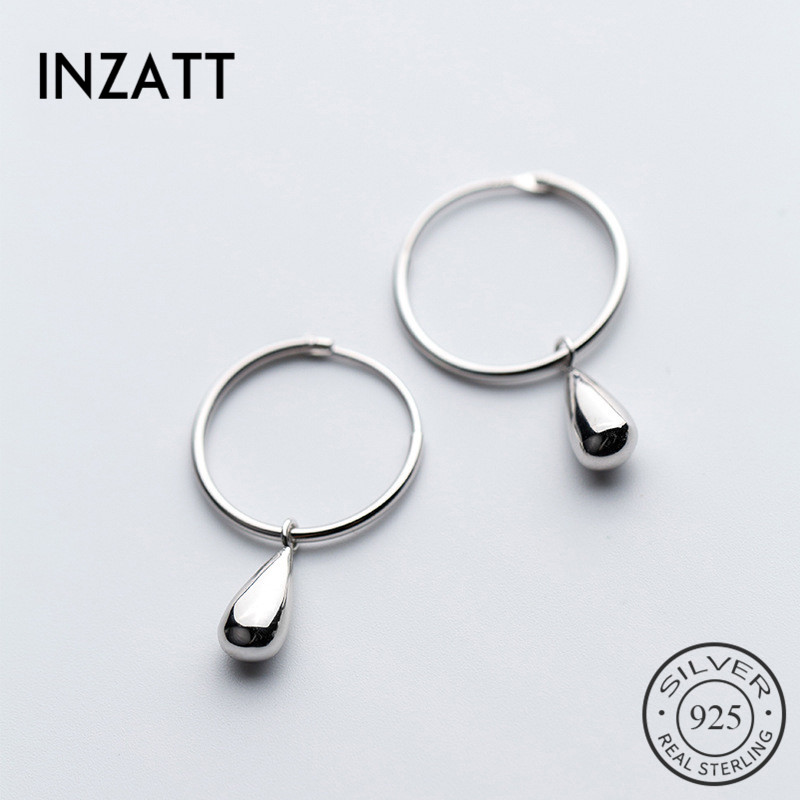 INZATT Real 925 Sterling Silver Water Drop OL Hoop Earrings For Women Wedding Party Elegant Fine Jewelry 2020 Accessories Bijoux