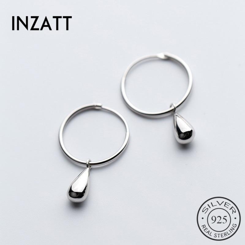 INZATT Real 925 Sterling Silver Water Drop OL Hoop Earrings For Women Wedding Party Elegant Fine Jewelry 2020 Accessories Bijoux