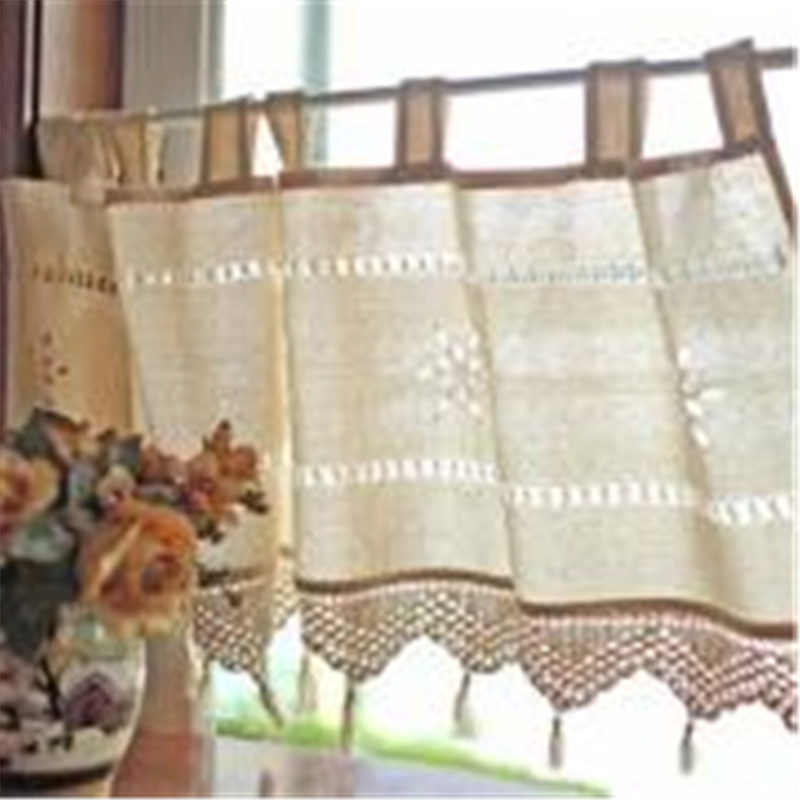 Cotton Linen Curtain Crochet Country Style Balcony Home Kitchen Linen  Embroidery Decoration Cafe Curtain Restaurant Decor