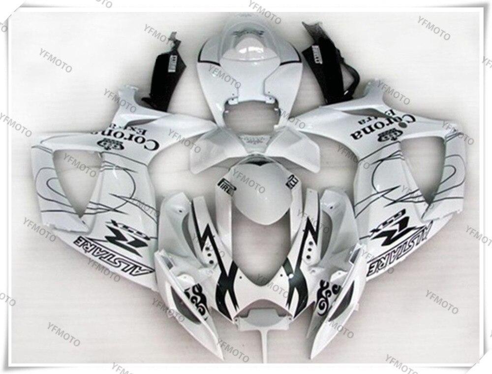 Motorcycle ABS White Fairing Body Work  Cowling For SUZUKI GSXR600-750 GSXR 600 750 K6 2006-2007 +4 Gift new motorcycle ram air intake tube duct for suzuki gsxr600 gsxr750 2006 2007 k6 abs plastic black