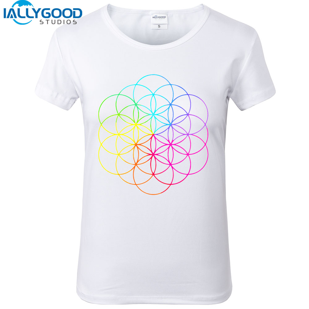 New Harajuku T-shirt Women ColdPlay Full Of Dreams Line Art Series T shirts Geometric Print Tops Slim White T shirts  S679 line art