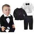 Ropa de primavera para bebés guapos ropa estilo europeo camisa menino infantil de tres piezas de la ropa del bebé marca
