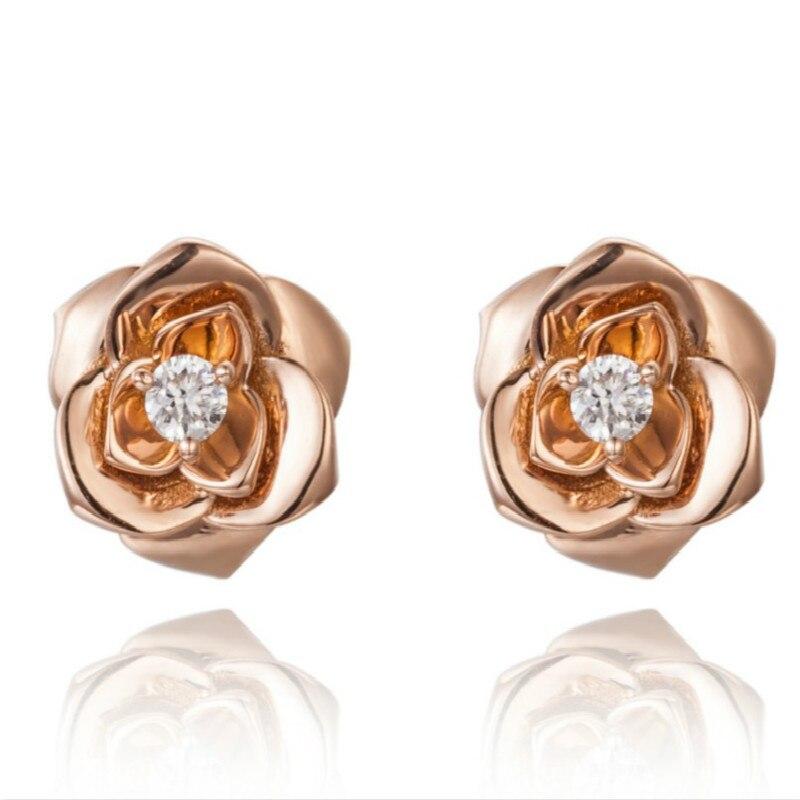 Genuine Natural Diamond 18K Yellow Gold Stud Earrings For Women Rose Flower Earring Fine Jewelry