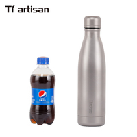Tiartisan 500ml Titanium Water Bottle Outdoor Camping Hiking Titanium Climbing Sports Bottle Ultralight Two Covers