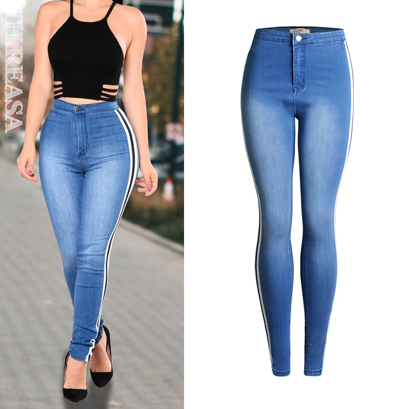 Side Stripe Push Up High Waist   Jeans   Women Top Quality Bleached Elasticity Blue Skinny   Jeans   Femme Fashion Cotton Trousers 2019